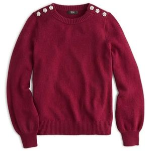 J. Crew crew neck sweater with jeweled buttons